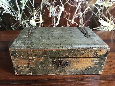 Antique Painted Wooden Box/Nähkistchen with Brass Fittings um 1920