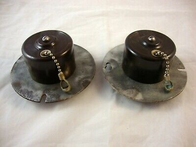 2 Vtg. Bryant Bakelite/Porcelain Chain Pull Ceiling Light Switches - Single Pole