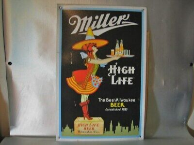 Miller High Life Beer Girl On The Moon Crate Man Cave Garage Bar Sign