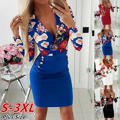 Women Plus Size Sexy V Neck Long Sleeve Sheath Rose Printed Button Mini Dress SS