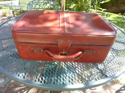 "Vtg Airway Encore hinged Carry-On Suitcase Luggage-Burgandy 21"" x 14"" x 8""-F/Sh"