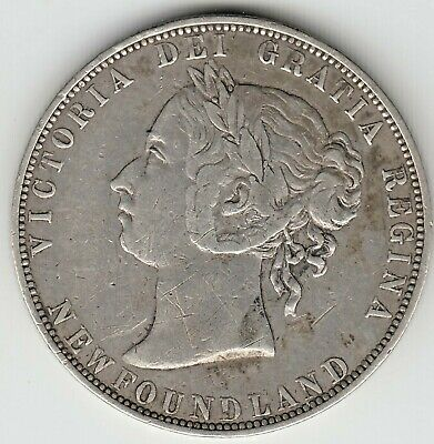 1 x 1899 NEWFOUNDLAND SILVER 50 cent COIN MINTAGE ONLY 150,000  GRADES gVF