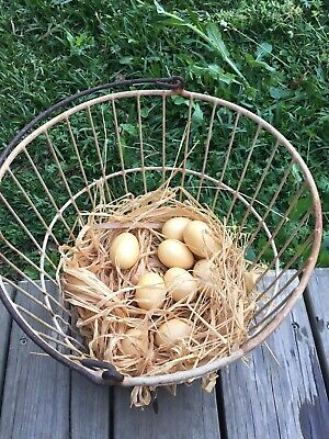 Vintage Round Beige & Rust Coated Metal Wire Egg Basket/Realistic Eggs & Straw
