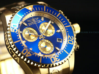 New Invicta Mens 47mm Grand Diver Swiss ETA Chronograph 18KGP Blue Dial SS Watch