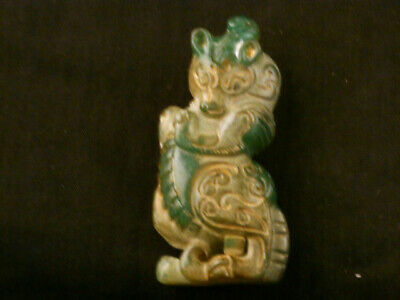 Lovely Chinese Old Jade Hand Carved *Lee Dragon* Netsuke Maa017