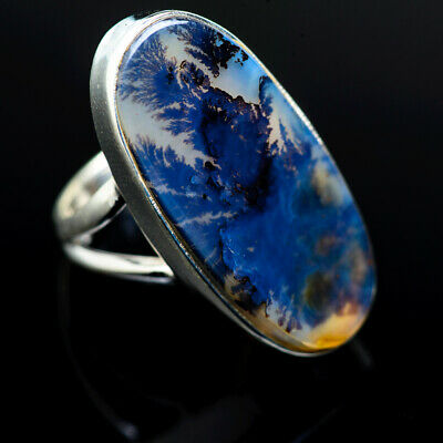 Large Scenic Dendritic Agate 925 Sterling Silver Ring Size 6 Jewelry R976648F
