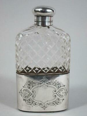 Fine Antique Silver Plated & Cut Glass Hip Flask Drinking Flask James Dixon 1880