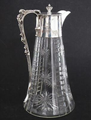 BEAUTIFUL TOP QUALITY ANTIQUE SILVER PLATED & CUT GLASS CLARET WINE JUG decanter