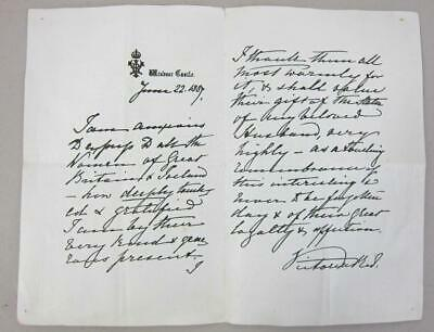 Queen Victoria Signed Letter Historic Document Manuscript Royal Royalty British