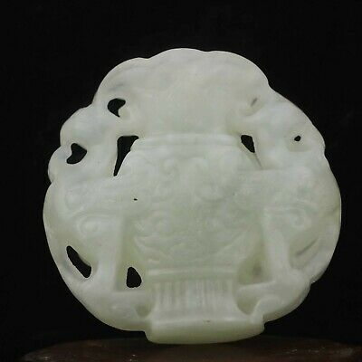 Chinese old natural jade hand-carved statue double dragon pendant 1.9 inch