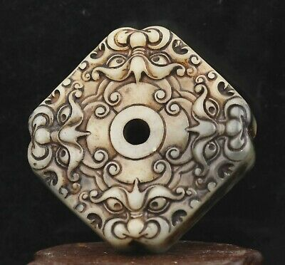 Chinese old natural huanglong jade hand-carved statue dragon pendant 2.2 inch