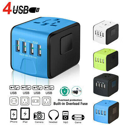 4 USB Port Universal Charger Adapter Travel Plug Power Converter International
