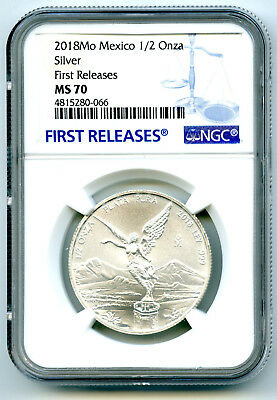2018 Mo Mexico 1/2 Oz Onza Silver Libertad Ngc Ms70 First Releases Rare Top Pop