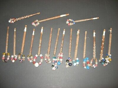 Vintage Wood And Pewter Lace Bobbins (Lot 1)