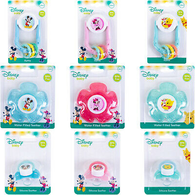 Disney Baby Soother Dummy Teether Rattle Toy Soothing Gums Mickey Minnie Winnie