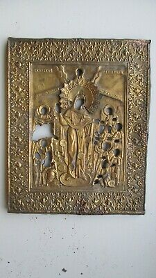 Icona Russa,Antique Russian Orthodox icon riza,,Theotokos,, from 19c.