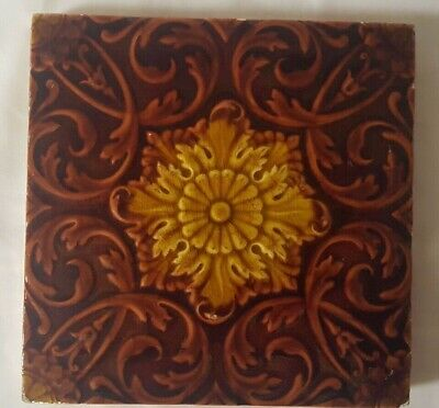 Stunning Antique Minton Symmetrical Floral Design Antique 6 Inch Tile