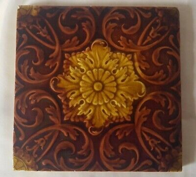 STUNNING ANTIQUE MINTON AUTUMNAL SYMMETRICAL FLORAL majolica ANTIQUE 6 INCH TILE