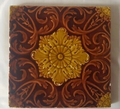 Striking Antique Minton Autumnal Symmetrical Floral Majolica Antique 6 Inch Tile