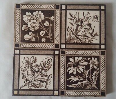 CHARMING ANTIQUE QUARTER FOIL FLORAL DESIGN 6 INCH TILE arts and crafts