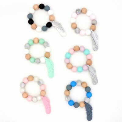 Feather Teether Bracelet Wooden Silicone Beads Rattle Stroller Baby Teething Toy