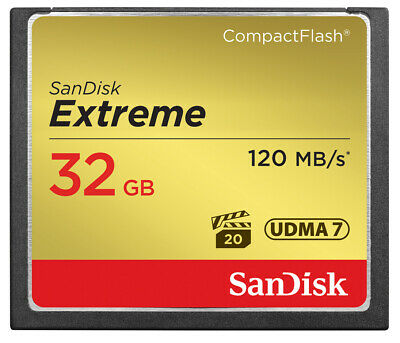 SanDisk 32GB 64GB 128GB Extreme Compact Flash CF Card, 120MB/s R, 85MB/s W
