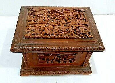 Antique 19Th C Chinese Canton Deeply Carved Wood Wooden Jewelry Treasure Box