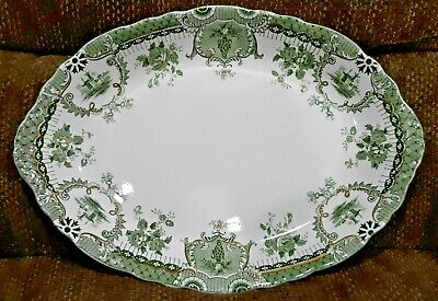 Antique Green Gold & White Wedgwood Raleigh Semi Porcelain China Serving Platter