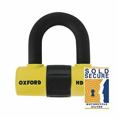 Oxford HD Max Yellow Anti-Picklock Hardened Steel Motorcycle Motorbike Disc Lock