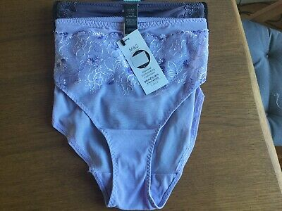 Blossom Embroidery Collection Brazilian Knickers size 10 M/&S Ladies Navy Blue
