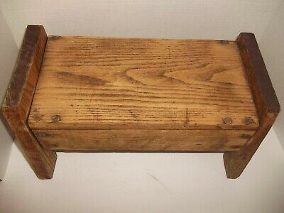 Antique vintage Hand Made Primitive Oak Wood Stool Seat Milking? Farm Rustic