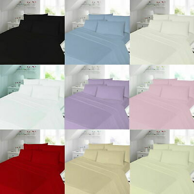 Brushed 100% Cotton Flannel Flannelette Plain Duvet Quilt Cover Bedding Set