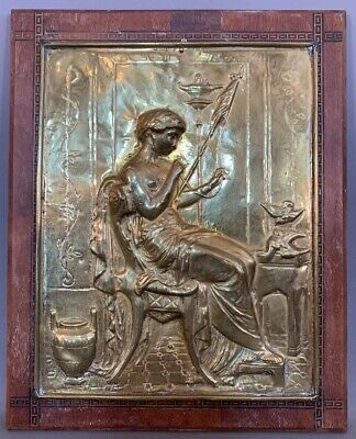 Antique ART NOUVEAU Stamped BRASS Semi NUDE LADY Sewing FLAG Old WALL PLAQUE