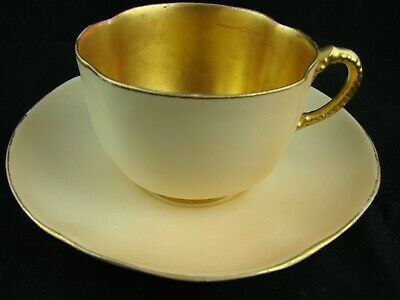 19thC Antique Royal Worcester Stunning Yellow & Gold Cup and Saucer 1892