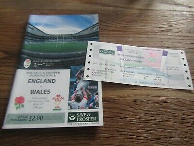 Save & Prosper International Rugby Union - England v Wales in 1996 + Ticket