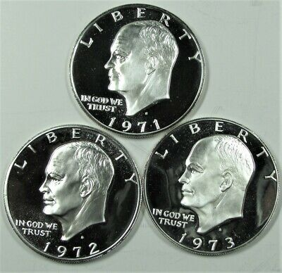 1971 1972 and 1973 PROOF 40/% SILVER EISENHOWER DOLLARS  CHOICE TO GEM CAMEO