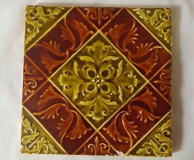 Elegant Symmetrical Design Antique 6 Inch Tile Majolica