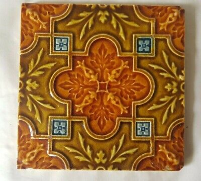 Stunning Symmetrical Design Raised Majolica Antique 6 Inch Tile