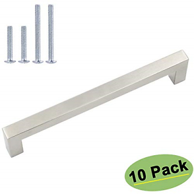 "5 PACK 4-1//4/"" Hole Center Brushed Nickel Cabinet Pull Handle 5-13//16/"" LENGTH"