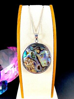 Striking Signed 925 Sterling Silver Abalone Shell Circular Round Pendant