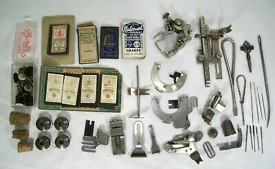 Vintage Singer Sewing Machine Lot Attachments, Parts, Accessories, Needles, More
