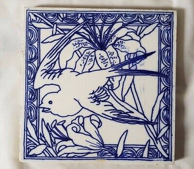 CHARMING aesthetic MINTON SWALLOW BIRD blue and white DESIGN ANTIQUE 6 INCH TILE