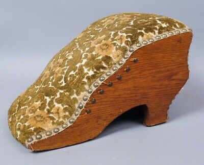 Antique c1900 Oak Framed Upholstered Ladies Button Up Shoe Profile Footstool
