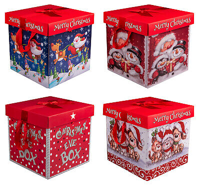 Premium Large Christmas Eve Gift Box, Lid & Ribbon Handles Xmas Present Wrapping