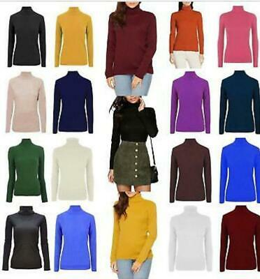 Womens Ladies Skinny Ribbed Knitted Polo / Roll Neck Jumper Winter Top