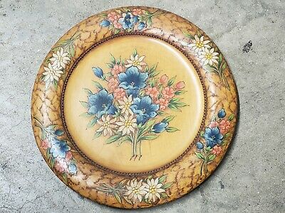 Vintage Obergamergau Passion 1950 Edelweiss Hand Carved Painted Wood Plate Dish