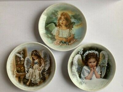 "Set Of 3 Sandra Kuck ""Precious Angels"" Collector Plates 4"" Limited Edition"