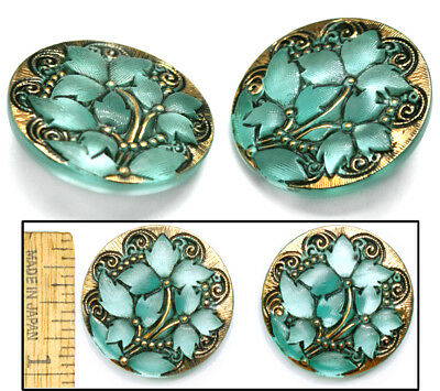 27mm Vintage Czech Glass Matte TURQUOISE + Gold Lace IVY Leaf Flower Buttons 2pc