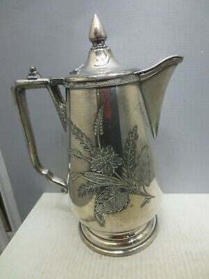 Silver Plate Pitcher With Engraved Leaf & Floral Decoration.