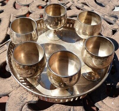 Vintage Set of 6 Silver Plated Goblet Shot Cups w/Silver Plated Serving Tray